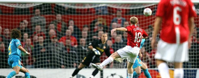 Paul Scholes goal for Manchester United against Barcelona