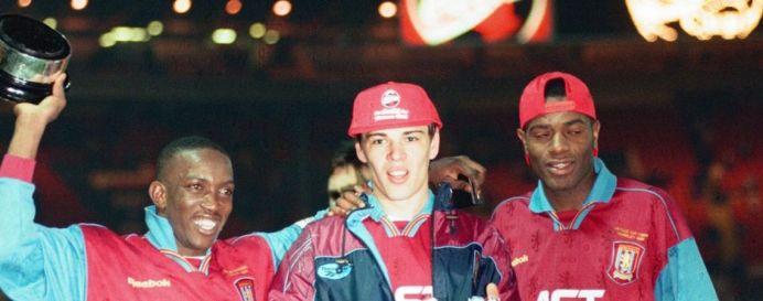 Dwight Yorke, Ian Taylor and Savo Milosevic celebrating at Wembley