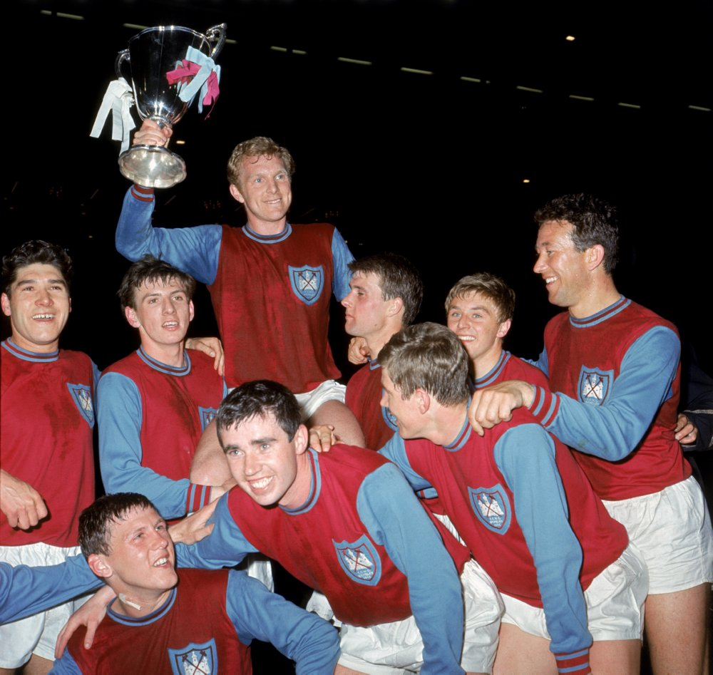 Bobby Moore and West Ham United celebrate with the European Cup Winners Cup