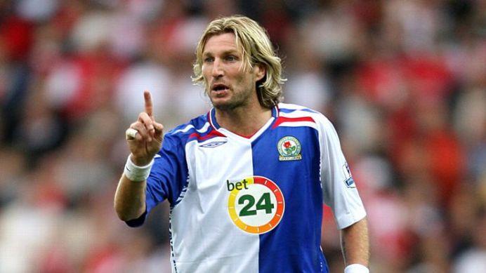 Robbie Savage Blackburn Rovers in Umbro shirt