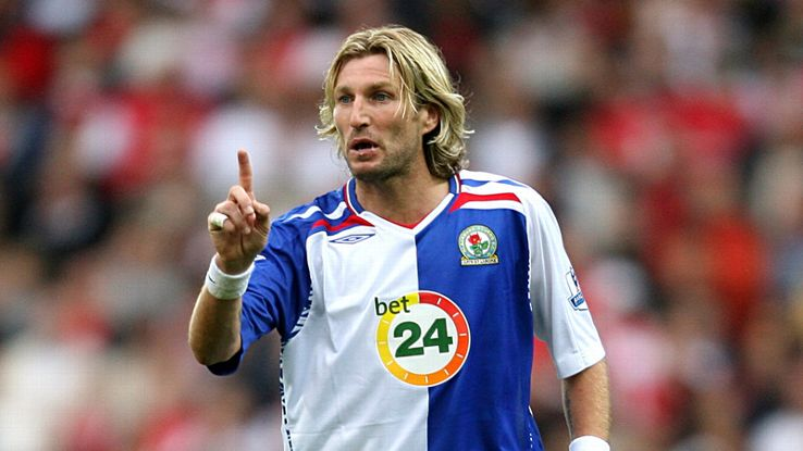 Robbie Savage Blackburn Rovers in Umbro shirt