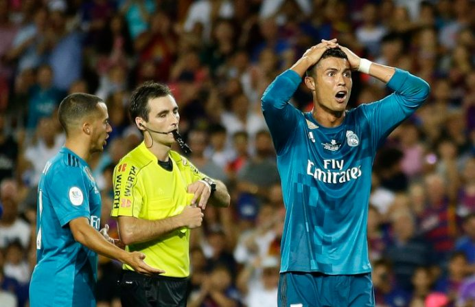 Cristiano Ronaldo in blue Real Madrid shirt